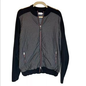 Peter Millar Men's Jacket Size Large Black Gray Zip Pockets Lined Golf Casual